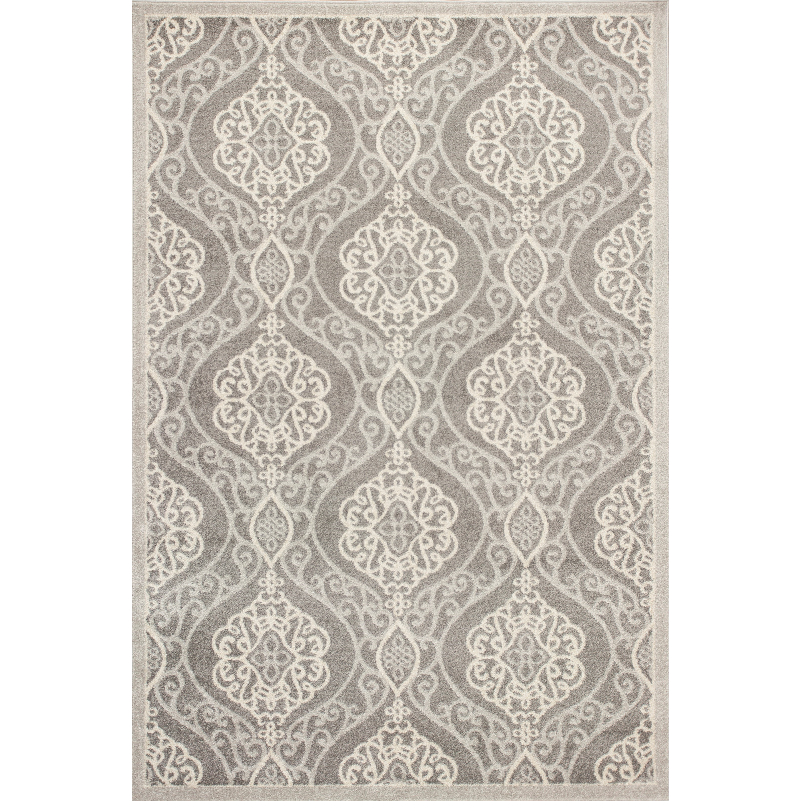 "Lucia 5'3"" X 7'7"" Silver Mosaic Area Rug by Kas at Zak's Home"