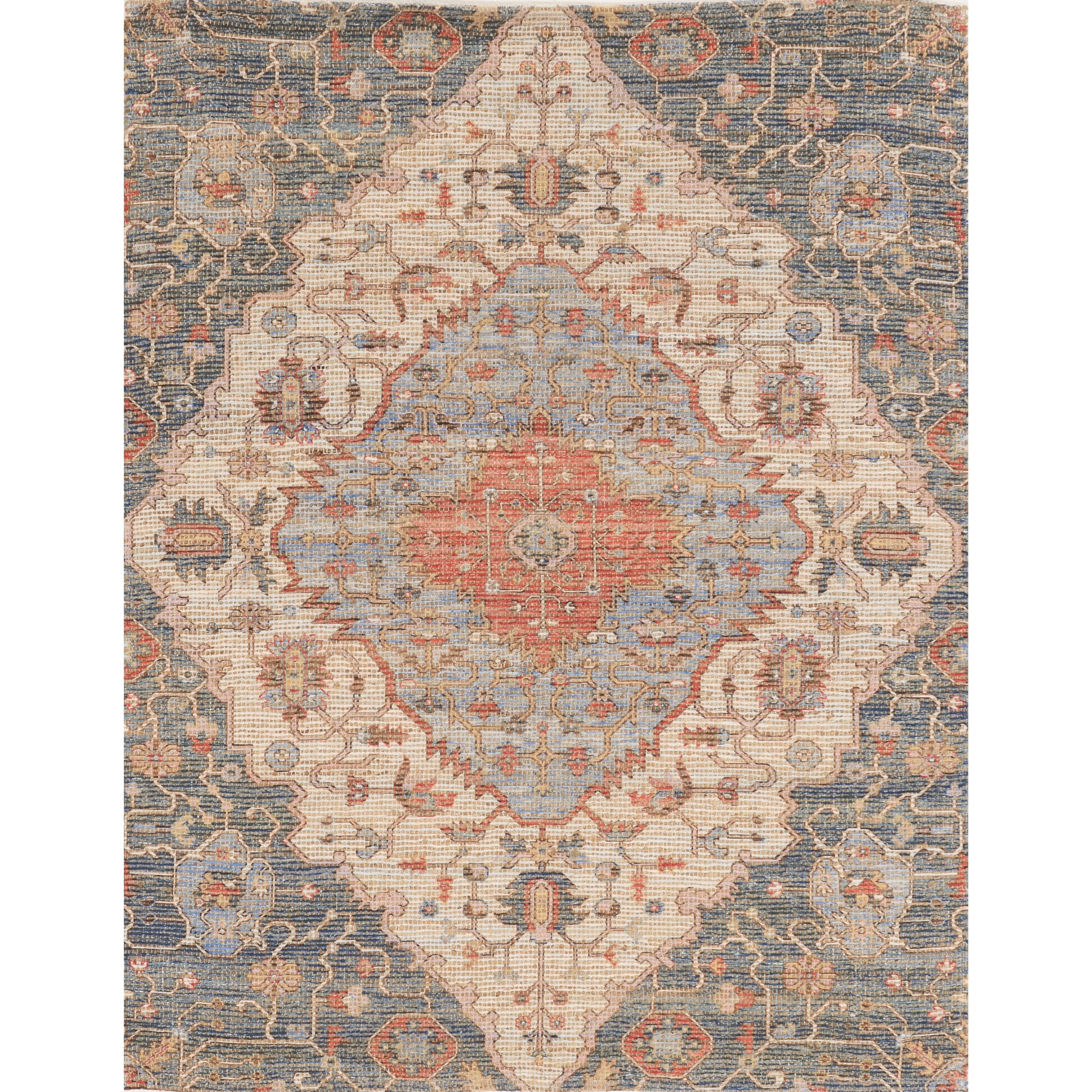 """Morris 27"""" x 45"""" Blue/Red Gramercy Rug by Kas at Zak's Home"""