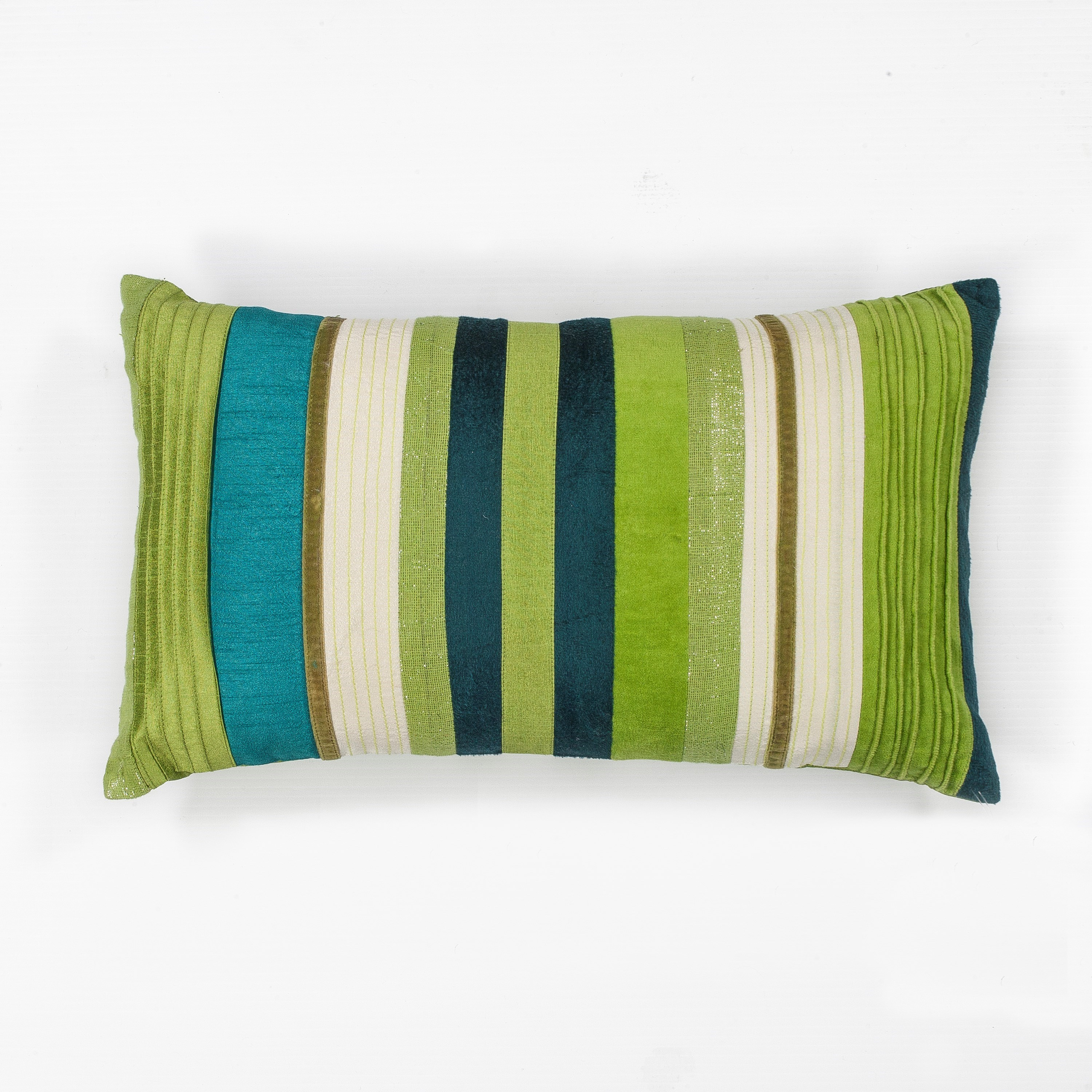 "Pillow 12"" X 20"" Teal Green Stripes Pillows by Kas at Zak's Home"