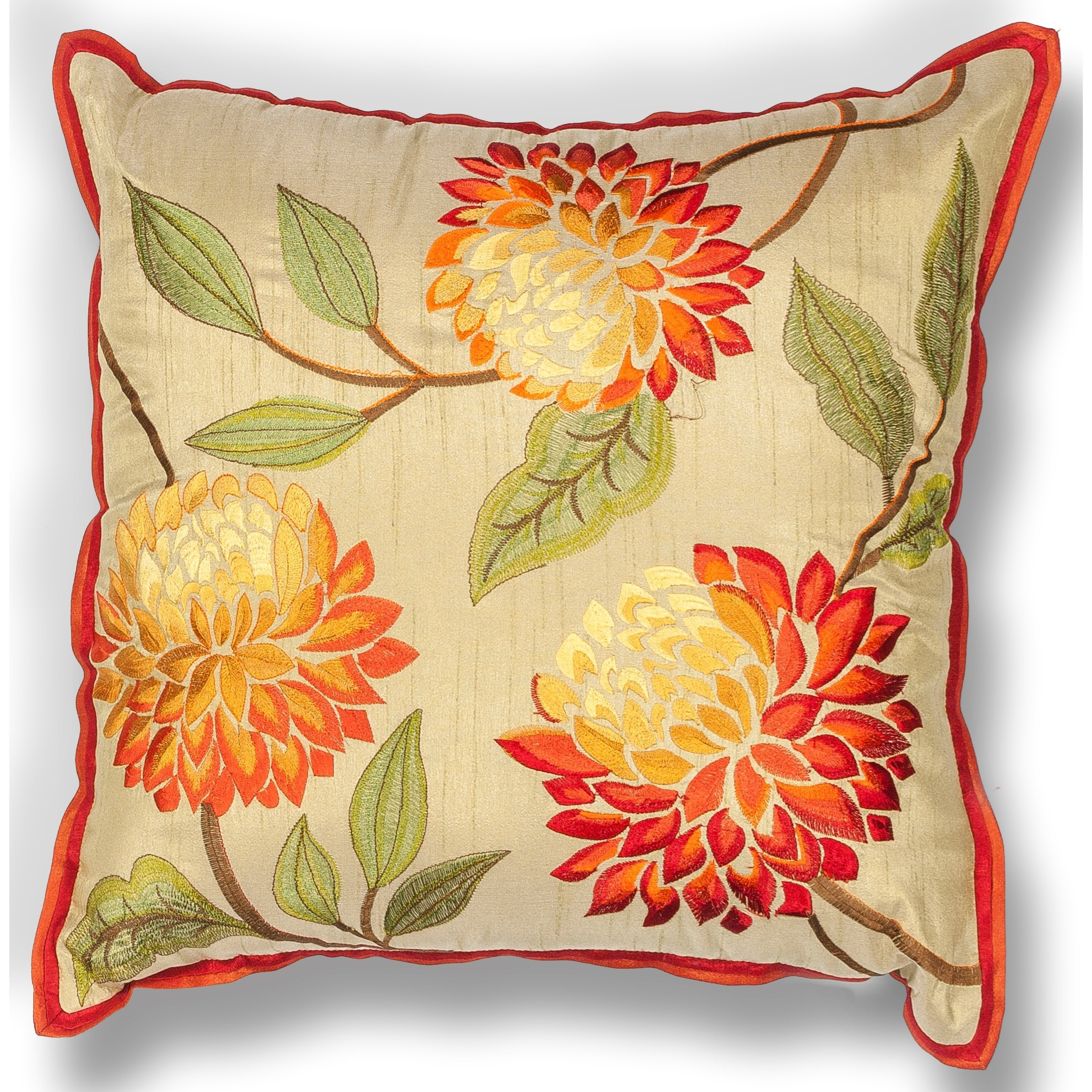 "Pillow 18"" X 18"" Red Chrysanthemum Pillows by Kas at Zak's Home"