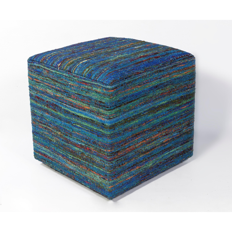 """Poufs 18"""" X 18"""" Aqua Multi Viscose Poufs by Kas at Wilson's Furniture"""