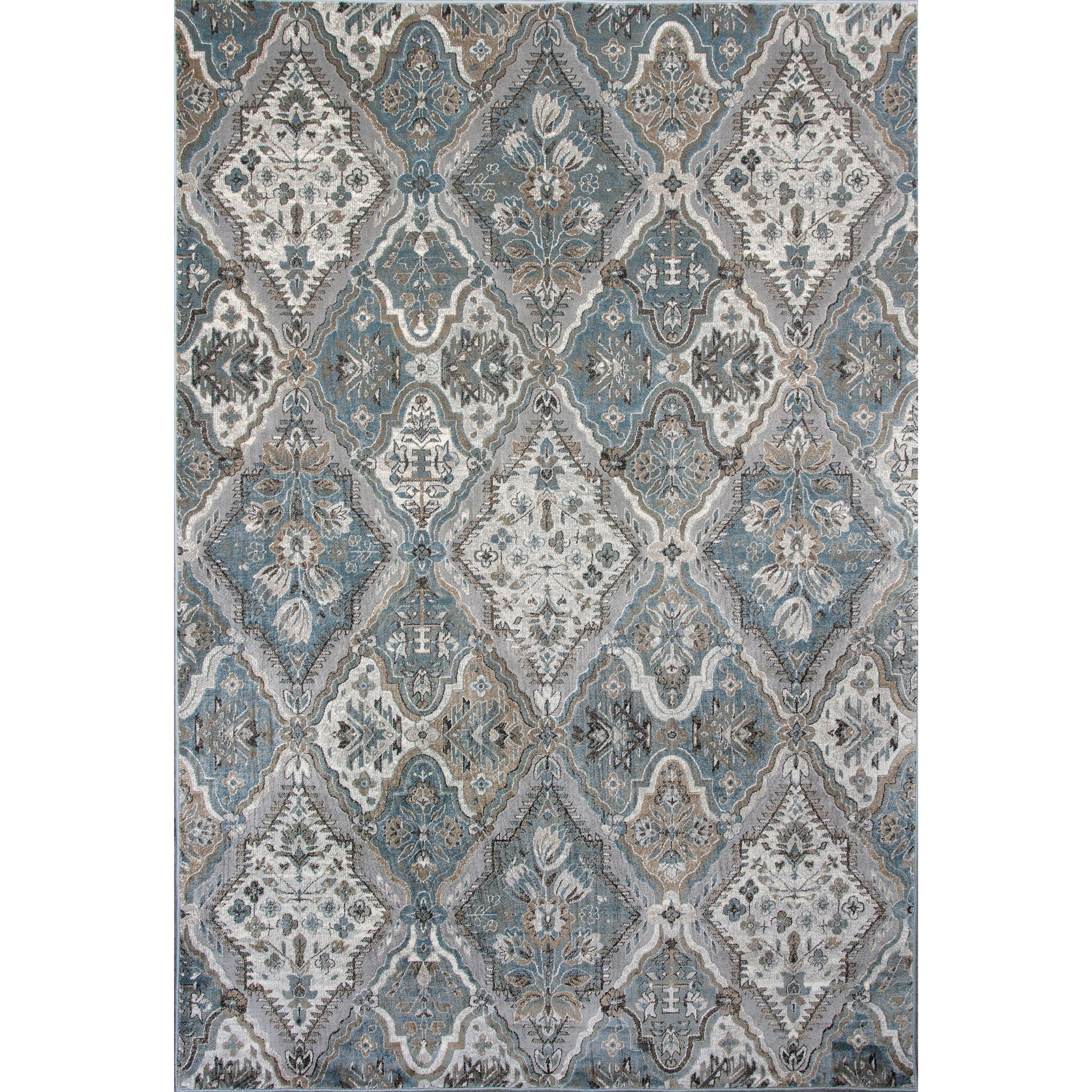 """Provence 2'2"""" X 6'11"""" Silver / Blue Palazzo Area Rug by Kas at Zak's Home"""