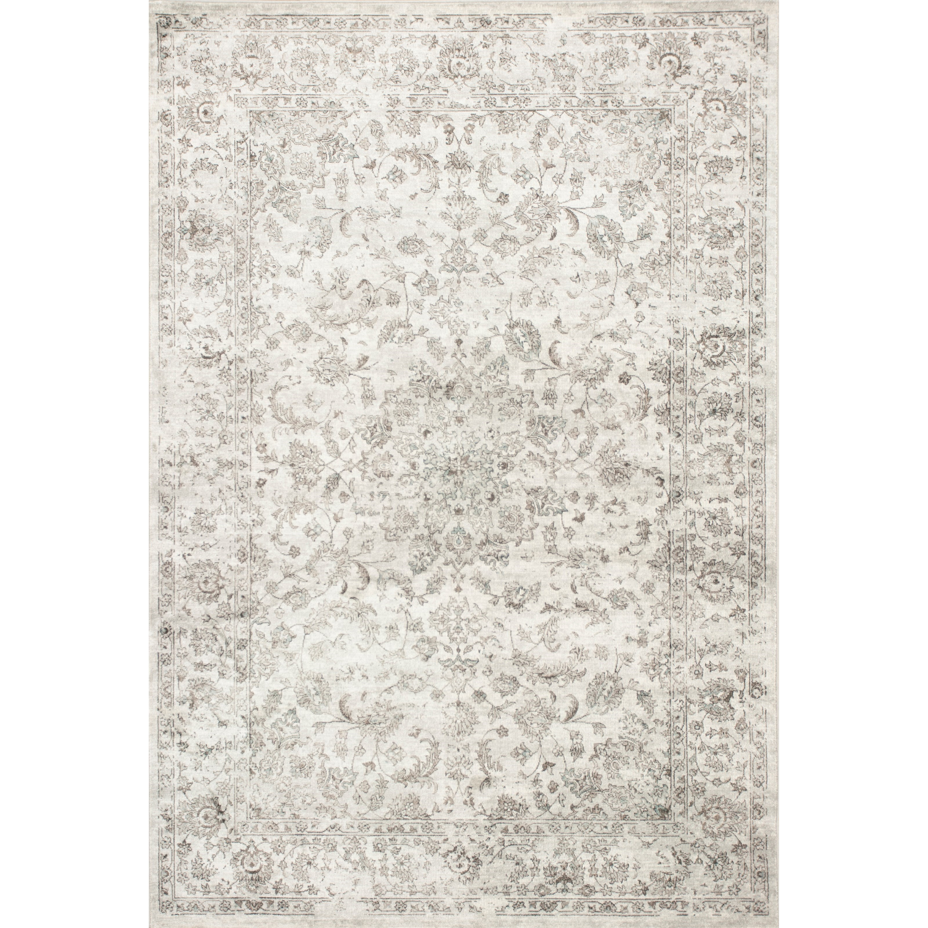 "Provence 5'3"" X 7'7"" Silver Medallia Area Rug by Kas at Zak's Home"