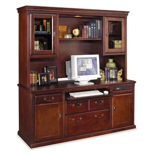kathy ireland Home by Martin Huntington Club Credenza and Hutch w/ Pull-Out Storage Light