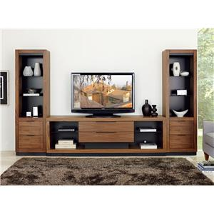 Martin Home Furnishings Stratus-Walnut Center Wall Unit with Drawer Piers