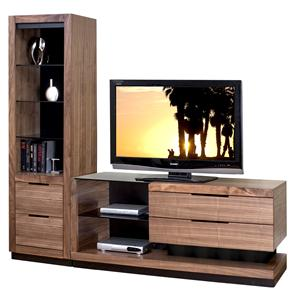 Martin Home Furnishings Stratus-Walnut Small Left Side Wall Unit with 1 Pier