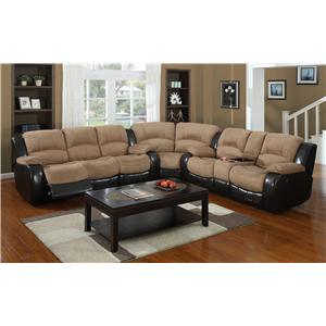 Casual Three Piece Reclining Sectional Sofa with Drink Console