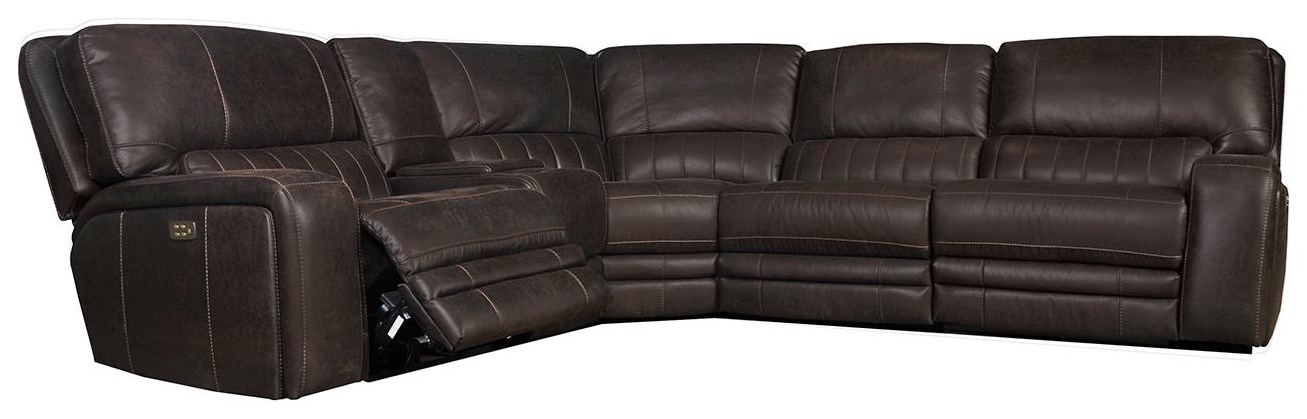 Power Reclining Sectional with Power Headres at Sadler's Home Furnishings