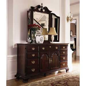 Kincaid Furniture Carriage House Triple Dresser & Tri View Mirror