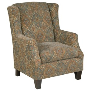 Transitional Wing Chair with Sloped Arms