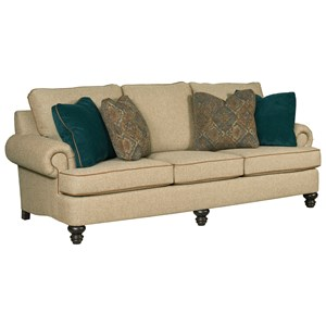 "Traditional 94"" Grand Sofa with Rolled Arms and Turned Legs"