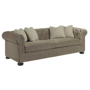 Chesterfield Sofa with Toss Pillows and Wooden Bun Feet