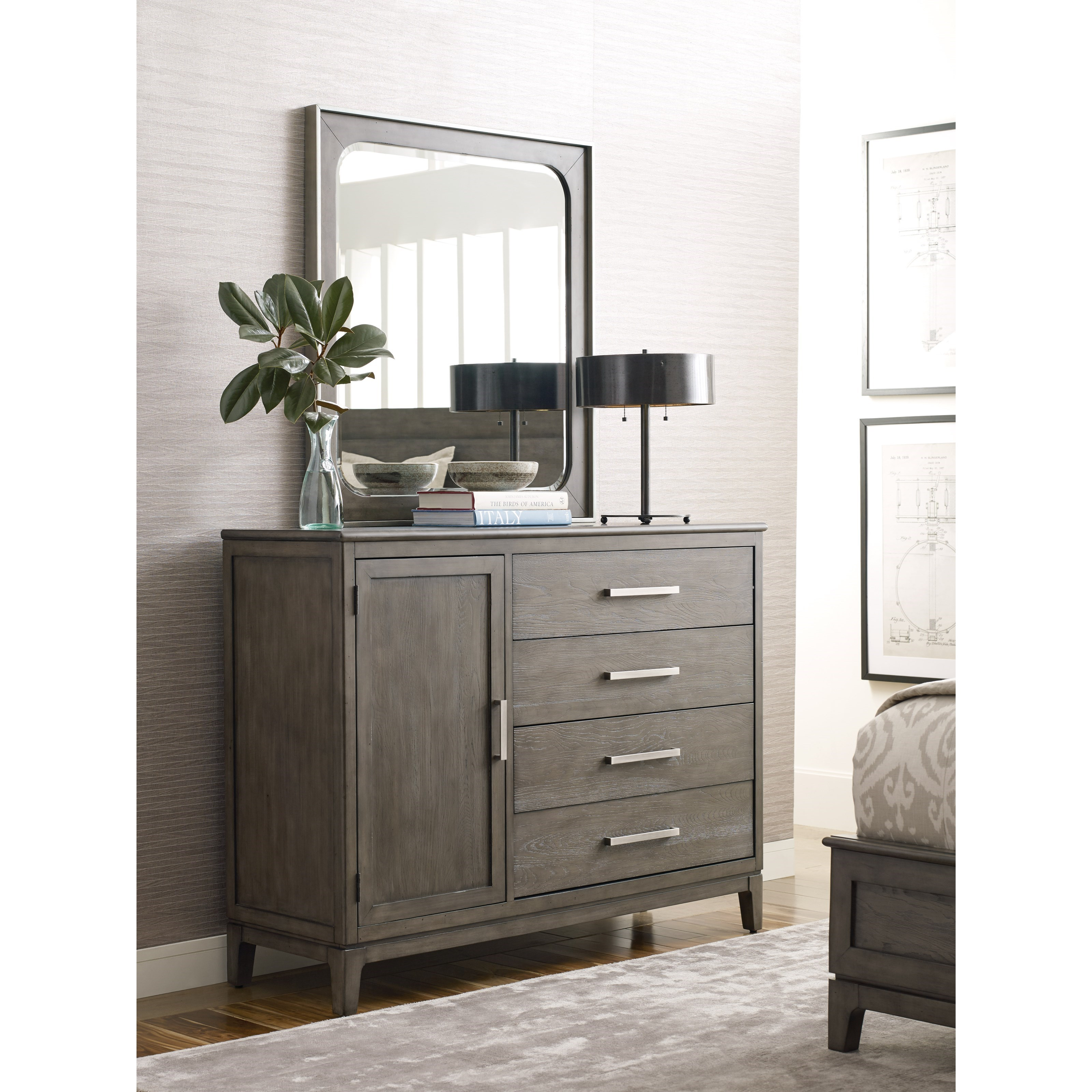 Cascade Garrison Door Bureau and Mirror Set by Kincaid Furniture at Johnny Janosik