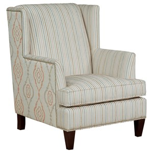 Transitional Wingback Chair with Nailhead Trim