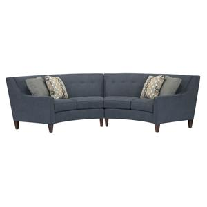 Two-Piece Contemporary Conversation Sectional with Sloped Arms and Button-Tufting