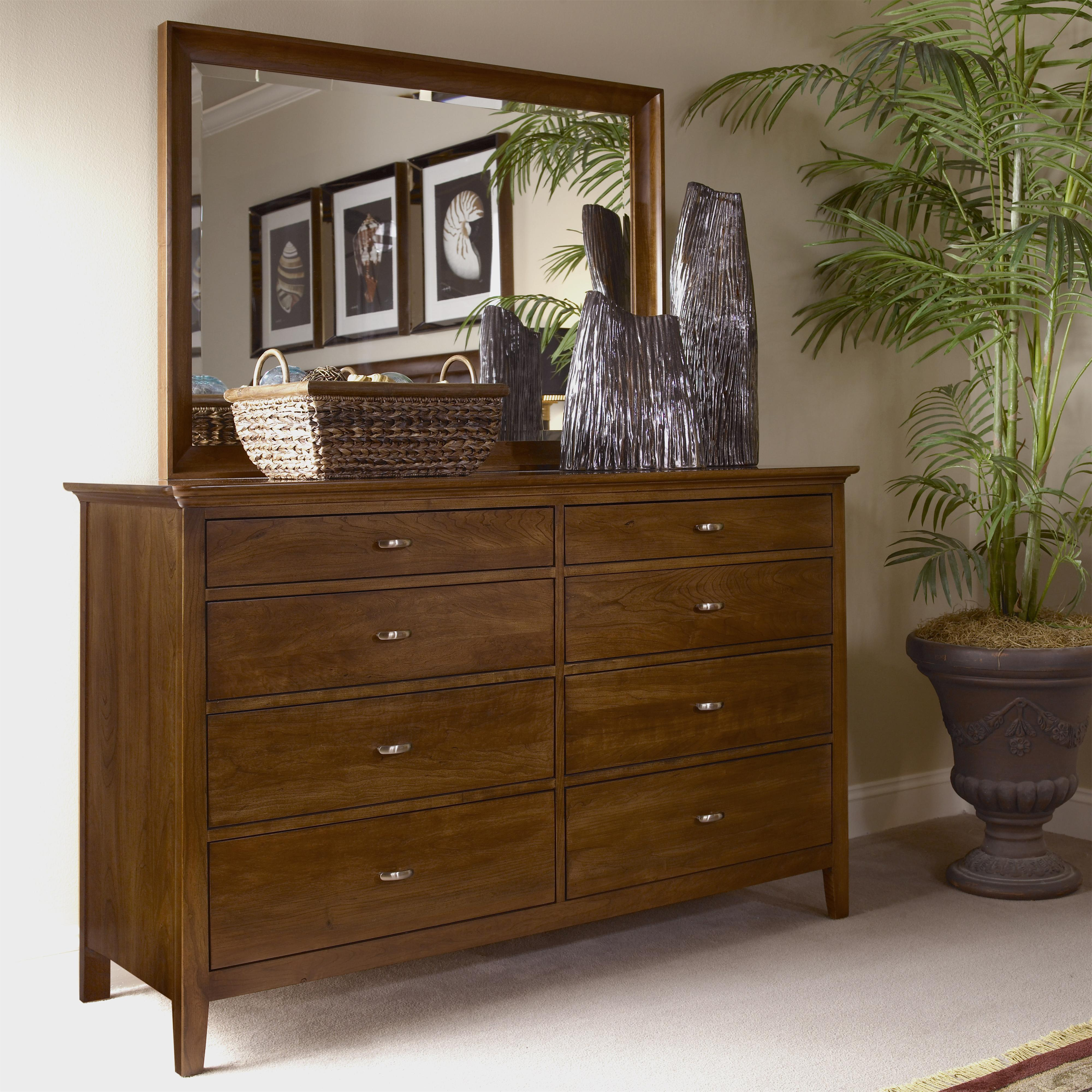Cherry Park Double Dresser & Landscape Mirror Combo by Kincaid Furniture at Johnny Janosik