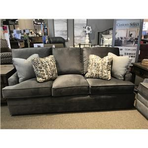 Contemporary Gray Sofa with Track Arms