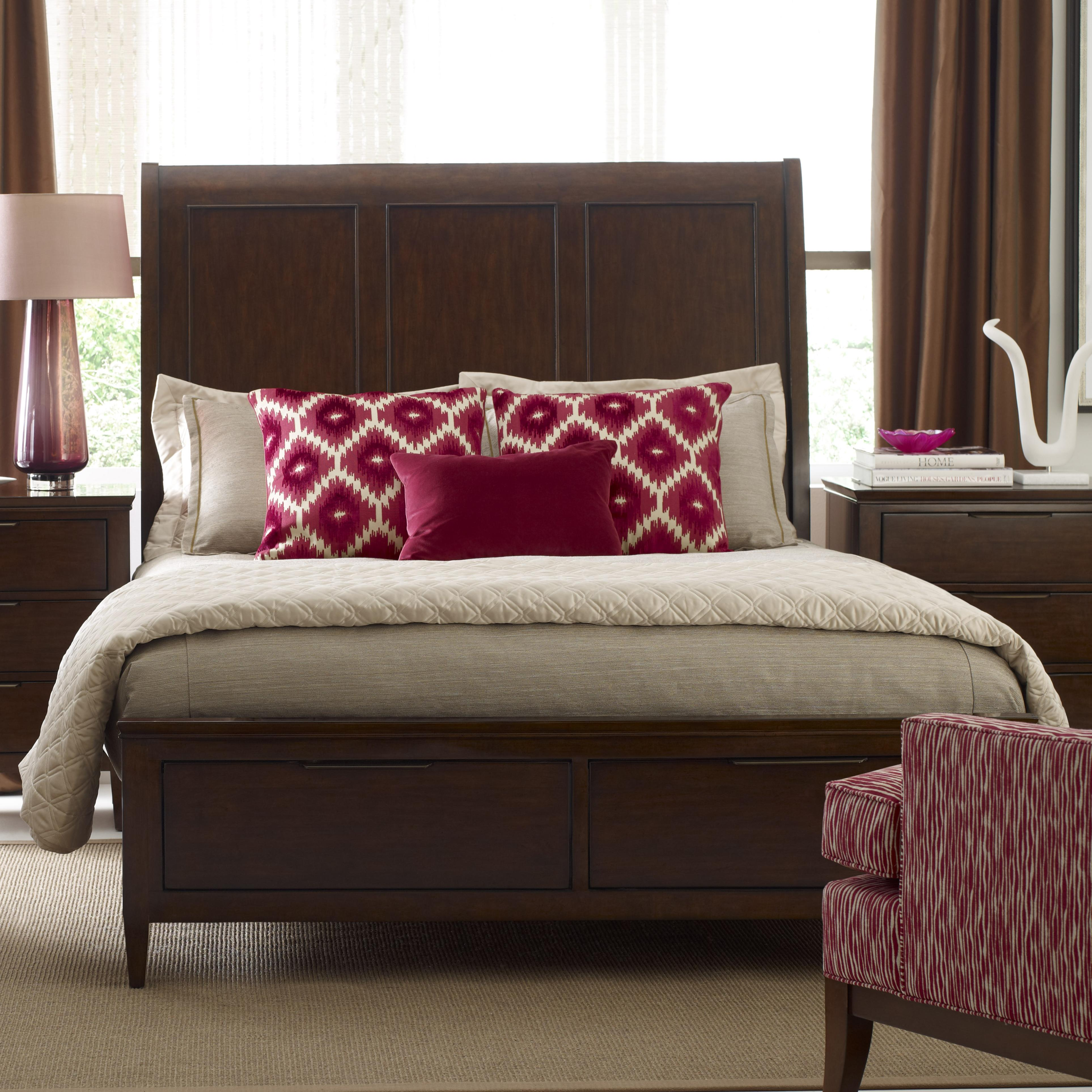 Elise Caris Queen Sleigh Bed w/ Storage Footboard by Kincaid Furniture at Johnny Janosik