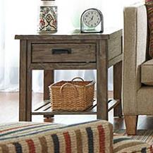 Rustic Weathered Gray End Table with Drawer