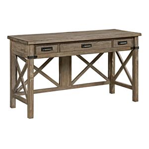 Rustic Weathered Gray Desk with Keyboard Drawer and Electrical Outlet