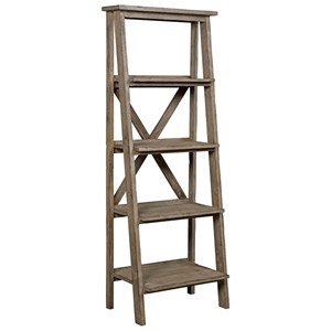 Rustic Weathered Gray Etagere Bookshelf