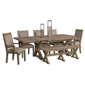 7 Pc Dining Set with Bench