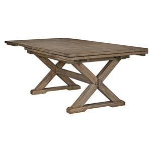 Rustic Weathered Gray Saw Buck Dining Table with Self-Storing Refectory Leaves