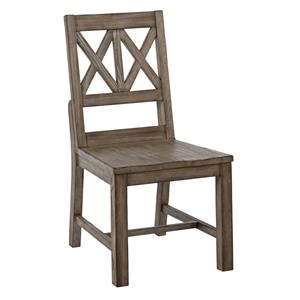 Rustic Solid Wood Side Chair with Weathered Gray Finish and X-Lattice Back