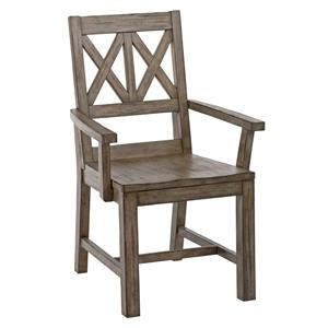 Rustic Solid Wood Arm Chair with Weathered Gray Finish and X-Lattice Back