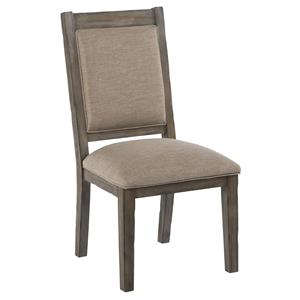 Upholstered Side Chair with Weathered Gray Finish