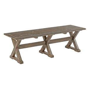 Rustic Solid Wood Dining Bench with Burnished Gray Finish
