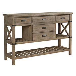 Rustic Weathered Gray Sideboard with Silverware Storage