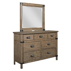 Rustic Weathered Gray Bureau and Mirror Set