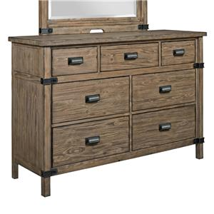 Rustic Weathered Gray Bureau with Drop-Front Media Drawer