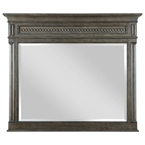 Madison Pediment Landscape Mirror with Beveled and Guilloché Moulding