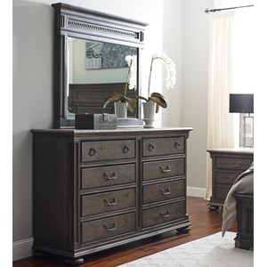 Austin Eight Drawer Dresser and Madison Landscape Mirror Set
