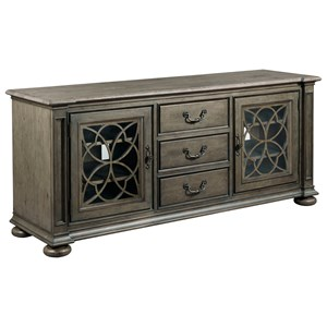 Fairview Entertainment Console with Seed Glass Doors and Built-In Power Strip