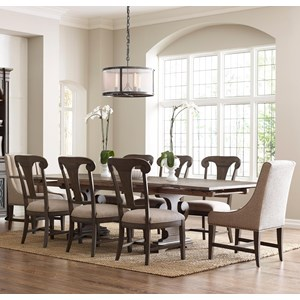 Nine Piece Refectory Table Dining Set with Fulton Side Chairs and Lawson Host Chairs