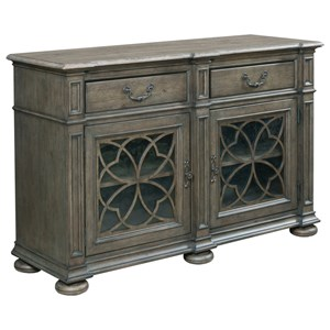 Harper Two Door Buffet with Silverware Storage and Seed Glass Doors
