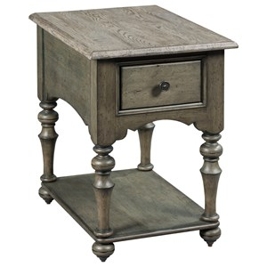 Wheeler One Drawer Chairside Table with Traditional Turned Legs