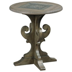 Warrick Round End Table with Inset Carved Wood and Tempered Glass Top