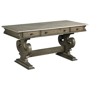 James Double Pedestal Writing Desk with Stretcher and Flip-Down Keyboard Drawer