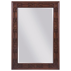 Traditional Rectangular Mirror with Decorative Relief Carving