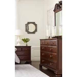 Traditional Dresser and Mirror Set with Nine Drawer Dresser and Pediment Mirror
