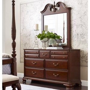 Traditional Dresser and Mirror Set with Bureau and Pediment Mirror