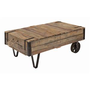 Industrial Cart Cocktail Table with Storage