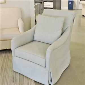 Casual Upholstered Swivel Glider with Skirt