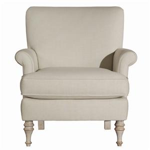 Jane Upholstered Accent Chair with Turned Wooden Legs