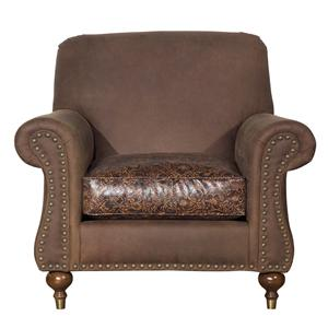 Rolled Arm Accent Chair with Nailhead Trim