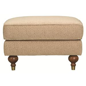 Transitional Raymond Ottoman with Turned Legs and Metal Ferrules